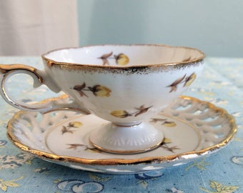 Vintage Cherry China Yellow Rose Footed Teacup & Reticulated Saucer