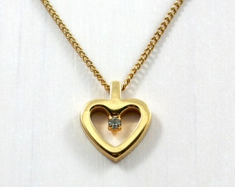 Vintage 1980s gold heart charm necklace with diamond chip, 16 inch chain, love, promise, Accents by Hallmark jewelry, girl child friend gift