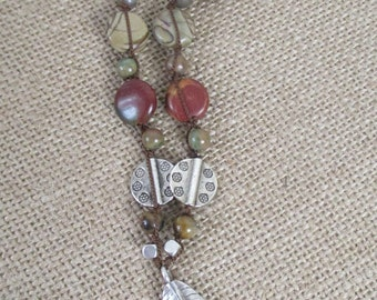 PICASSO JASPER Knotted Necklace with STERLING Leaf Pendant