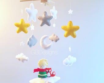Baby mobile - clouds mobile - moon mobile -  prince mobile  - storybook nursery