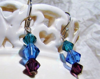 Swarovski Crystal Sterling Silver Drop Earrings Teal Blue Purple