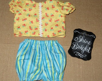 "Handmade 14 - 16 Inch Baby Doll Clothes ~ ""Play Time"" Yellow & Light Blue Flower and Stripes Print 2pc Play Set"