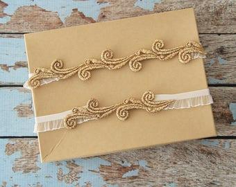 Gold Lace Wedding Garter Set,Gold Lace Toss Garter, Wedding Garter Belt, Gold Wedding Garter Set -1821