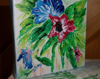Blue and Red Flower Painting, Acrylic Flower Painting, Summertime Floral, Canvas Painting, 4x4 inch Art, Original Art, ArtFromTheCabin