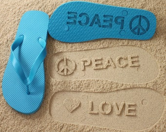 Peace and Love Flip Flops Sand Imprint *check size chart before ordering*