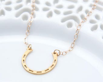 Good Luck Horseshoe Necklace - Horseshoe Necklace - Horse Lover Gift  - Good Luck Charm Jewelry - Gold Layering Necklace - Horseshoe Charm