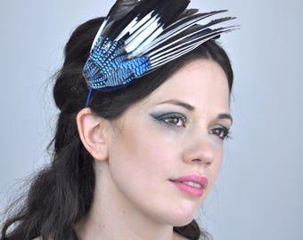 Jay Wing Feather Fascinator in Blue Velvet