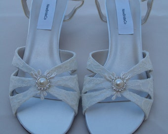 WEDDING LACE  Shoes B W WW width comfortable, Short Thick Heel, Satin Open Toe Sandals, Crystals and Pearls, Wide Width