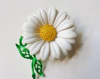 Daisy Pin, Enameled Metal Flower Brooch