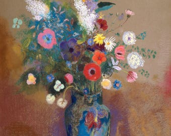 Fine Art Reproduction.  Bouquet of Flowers, c. 1905 by Odilon Redon (1840-1916), French. Fine Art Print