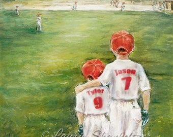 Baseball Personalized sports art  - add Names, Numbers, Colors, Ponytail for girls, wall art for kids