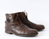 Vintage Brown Real Leather Laced Boots Indie Mens UK 8 EU 42 US 9
