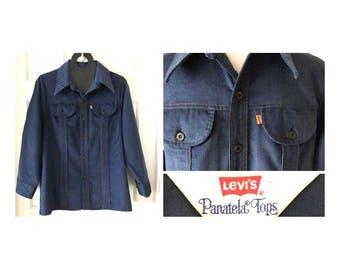 Vintage 1970s LEVI'S PANATELA Shirt Blue Corduroy Button Down Long Sleeve Orange Tab Levi Tag Rare Vintage Levis Light Jacket Men's Large