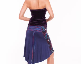 Tango Skirt in Purple, Corset Tango Skirt, Purple Print Tango Skirt, Jersey Skirt for Tango in Royal Blue