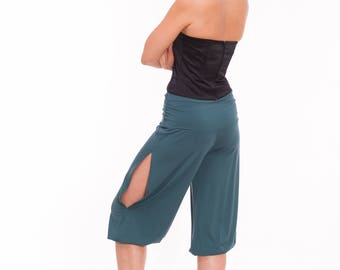 Tango Pants with Slits, Medium Length Pants for Tango in Teal, Dark Green, Deep Turquoise