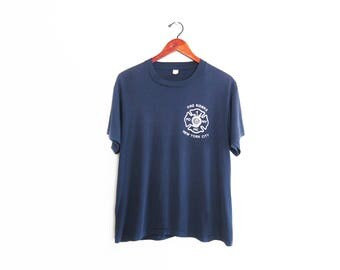 vintage t shirt / NYFD shirt / motorcycle club / 1980s navy New York City Fire Riders Motorcycle Club shirt Medium
