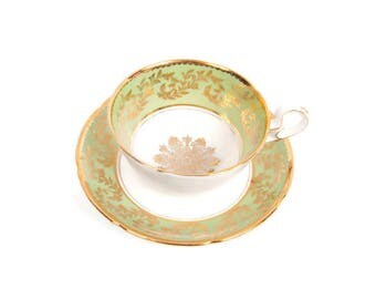Vintage Royal Grafton Teacup and Saucer Mint Green Gold Filigree Bone China Tea Cup Made in England