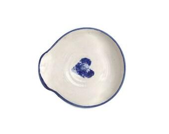 Vintage Pouring Bowl Pottery Stoneware Blue Heart Design Mottled Cobalt Gray Salt Glaze Hand Made Artist Signed Small Serving Drizzle Bowl