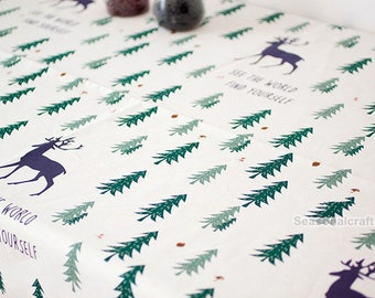 Cotton Linen Fabric with The Christmas tree and deer Linen Cotton Fabric - QT1312