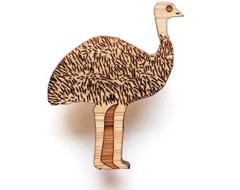 Emu Brooch - lasercut brooch - Australian animal, Australian jewelry, animal brooch