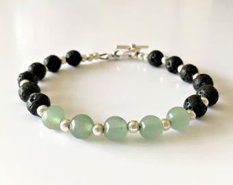 Green Aventurine and Lava Stone Aromatherapy Beaded Bracelet, Diffuser Bracelet, Chakra Bracelet, Yoga Bracelet, Essential Oil Diffuser