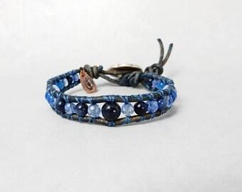 Handmade Leather Bracelet Sapphire Gemstone Bracelet Crystal Stone Leather Wrap Bracelet Boho Wrap Bracelet September Birthday Gift for Her