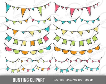 bunting digital clipart, bunting instant download, cute bunting clipart, cute triangle banner clipart, bunting digital art, bunting download