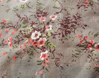pink and green floral print vintage cotton fabric -- 35 wide by 2 yards