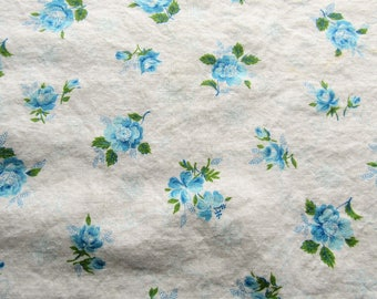 vintage FULL feed sack fabric -- blue roses floral print