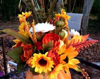small orange pumpkin autumn centerpiece fall centerpiece floral country pumpkin centerpiece arrangement fall flowers neutral