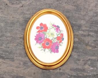 Painting of Anemones Gold Frame Original Art Still Life Purple Red Cream Flowers Signed Pamela Davis