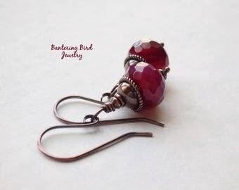 Raspberry Red Stone Earrings, Simple Earrings, Ruby Jade Drop, Antiqued Copper Jewelry