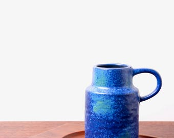 Van Daalen handled vase - West German studio pottery - 1960s fat lava vase - mid century modernist -blue minimalist decor
