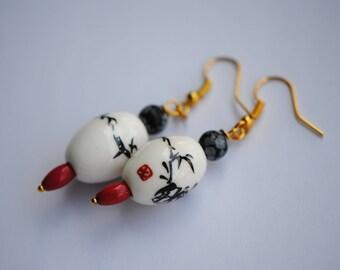 Red, White, and Black Earrings | Porcelain Earrings | Gemstone Earrings | Red Chinese Earrings | Coral, Snowflake Obsidian Earrings | Hook