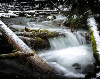 Little Zigzag Falls Trail #795C, Pacific Northwest Waterfall, digital photography, waterfalls, Oregon waterfall, Oregon stream with snow