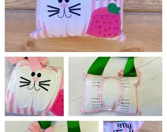 Kitten tooth themed fairy pocket pillow for girls-pink and green