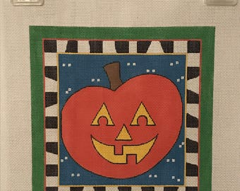 "Clearance - ""Jack-o-Lantern"" Handpainted Needlepoint Canvas by DeElda Wittmack"