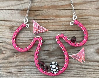 hot pink and purple wire wrapped necklace
