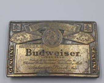 Belt Buckle Budweiser Beer Advertising Vintage Brass