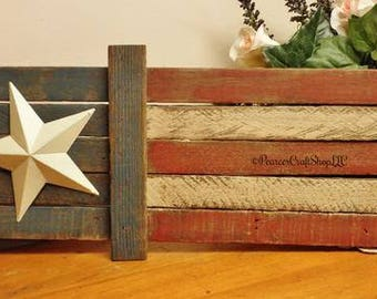 Primitive Flag, Lath Flags, Primitive Americana, Country Farmhouse Decor