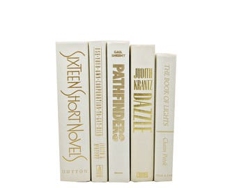 Ivory White BOoks, Decorative Books, Beige WHite Book Bundle, Book Collection, Old Book Decor, WEdding Decor, BOok Set, interior home decor