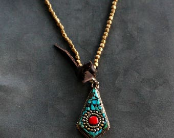 Ahote Turquoise Pendant Necklace Women Necklace Bohemian Jewelry