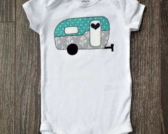 Camping onsie - Ready to ship *or* Custom Order - baby girl, boy, or gender neutral