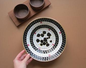 Vintage Mosaic Bowl // Mid Century Modern Ceramic Tile Bowl Black, White, Pink, and Gold Fruit Dish Countertop Centerpiece Display Hostess