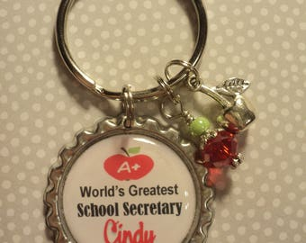 Personalized School Secretary key chain with charms