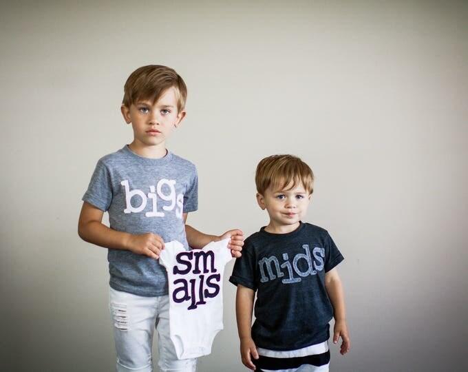 """Swanky Shank Boys or Girls Sibling Set """"Bigs, Mids, Smalls"""" Choose One Tee or Bodysuit"""