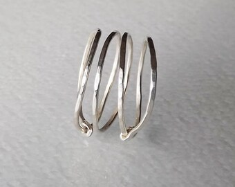 Hammered Sterling Spring Ring - Silver Ring
