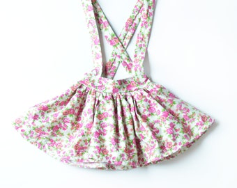 Floral Suspender Skirt. Pink and White Fall Floral Twirl Skirt with Suspenders. Girls Skirt.