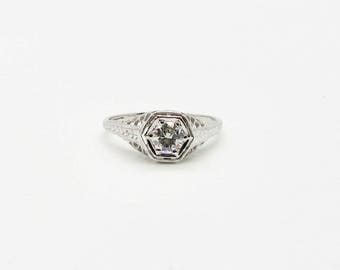 White Gold Filigree Ring, White Gold Diamond Ring, Filigree Engagement Ring, Antique Filigree Ring, Antique Diamond Engagement Ring