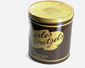 Vintage Charles Pretzels BBQ Potato Chips Tin